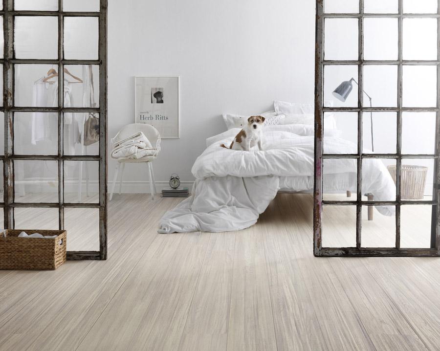 Tarkett Ivory White dog on bed