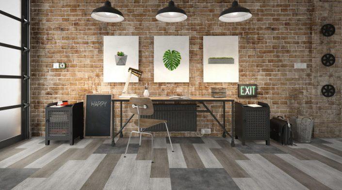 Tarkett LVT pod ModularT 7 kombinacija dezena drvo i beton